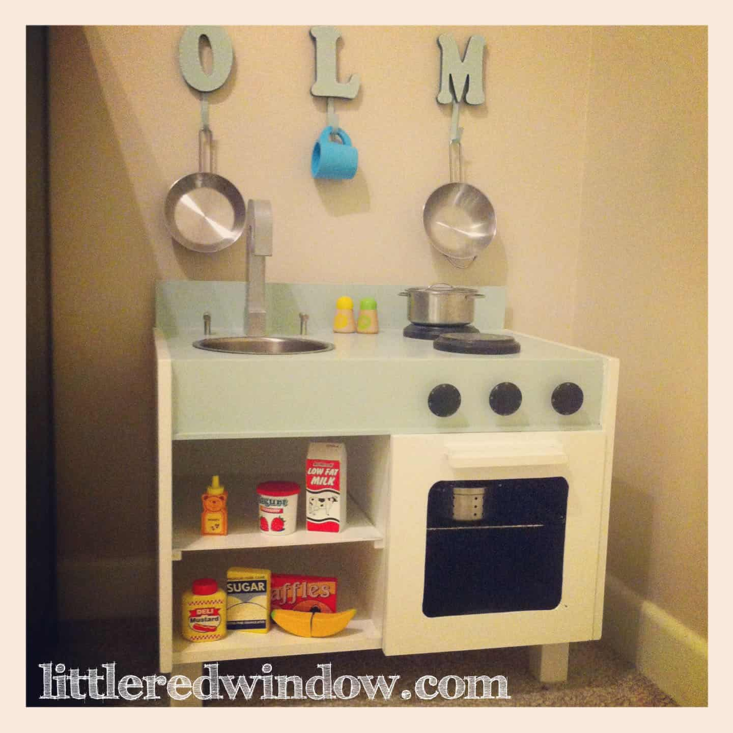 Play Kitchen From Old Furniture An Ikea Hack Play Kitchen For O Little Red Window
