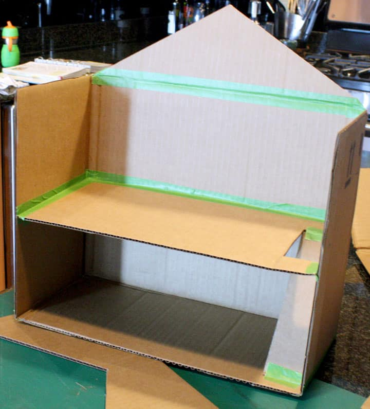 Connecting floors with frog tape, Cardboard Box Toy Doll House by Little Red Window