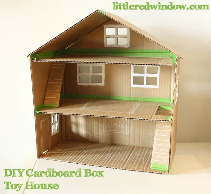 Awe Inspiring Diy Cardboard Box Toy House Little Red Window Largest Home Design Picture Inspirations Pitcheantrous