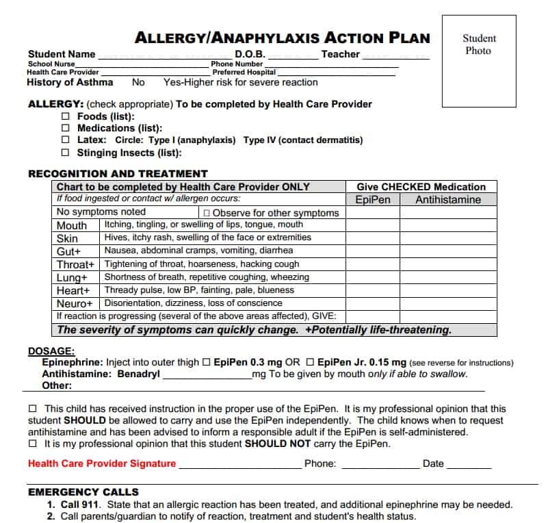 Allergy Action Plan on Little Red Window