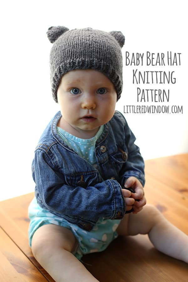 Knitting Pattern Baby Beanie 8 Ply : Baby Bear Hat - a knitting pattern by Little Red Window