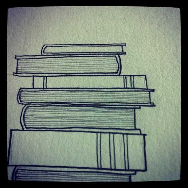 Books pencil drawing by Little Red Window Design