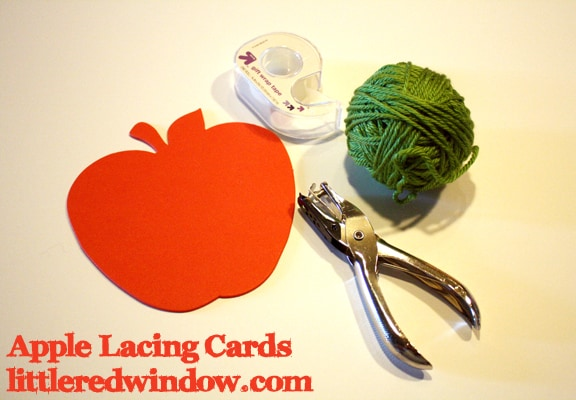 Apple Lacing Cards Materials on Little Red Window