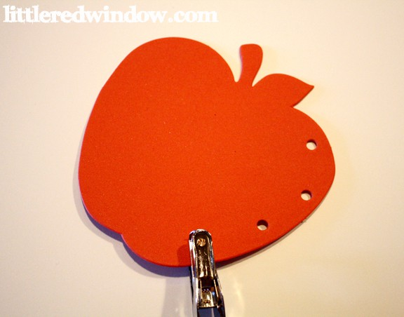 Apple Lacing Cards, Hole Punch on Little Red Window