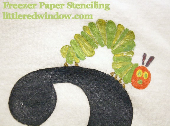 Very Hungry Caterpillar Freezer Paper Stenciling on Little Red Window
