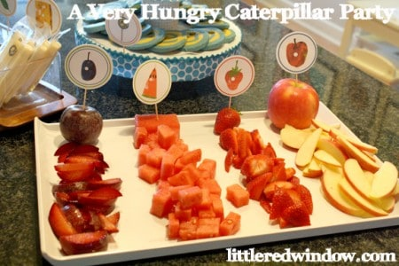 A Very Hungry Caterpillar Birthday Party -- Plums, Watermelon, Strawberries and Apples by Little Red Window