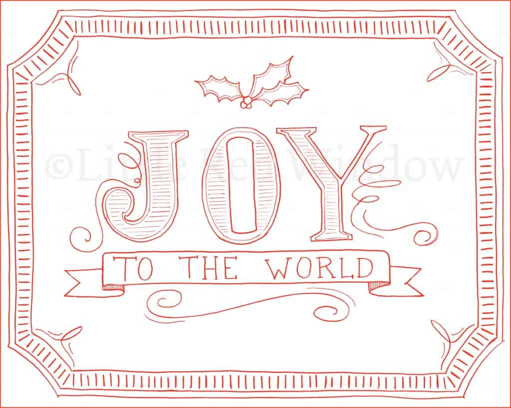 Joy to the World Christmas Printable by Little Red Window Design