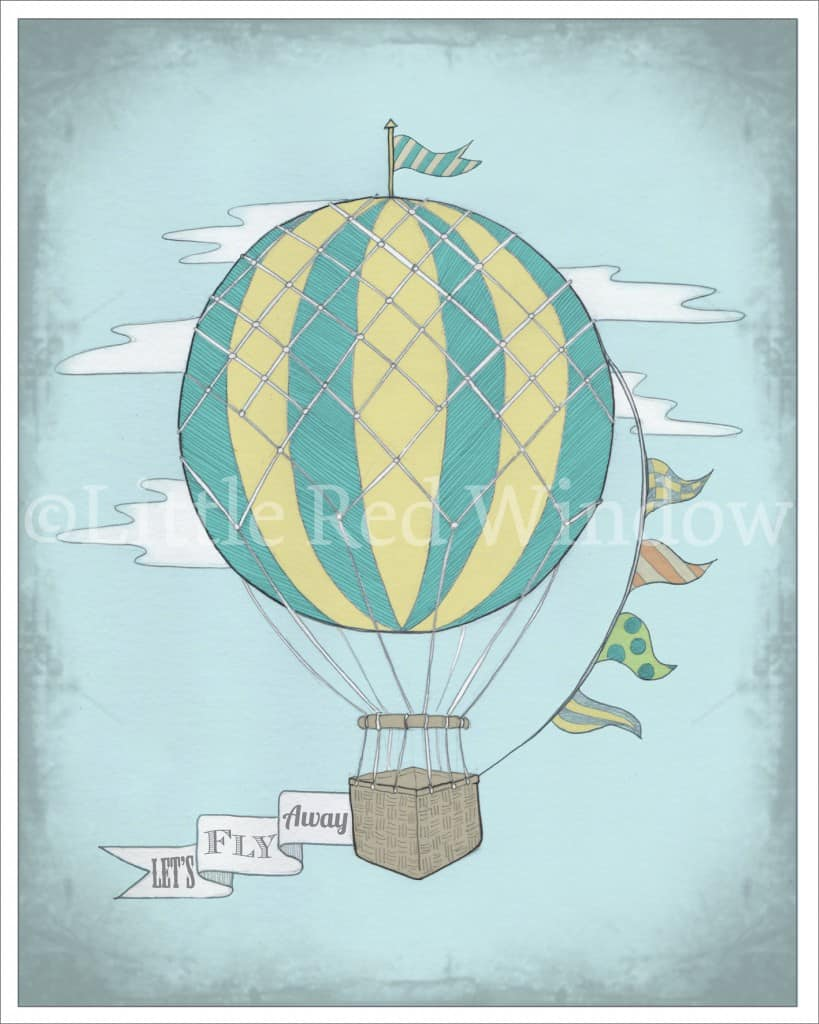 Vintage hot air balloon printable by Little Red Window Design