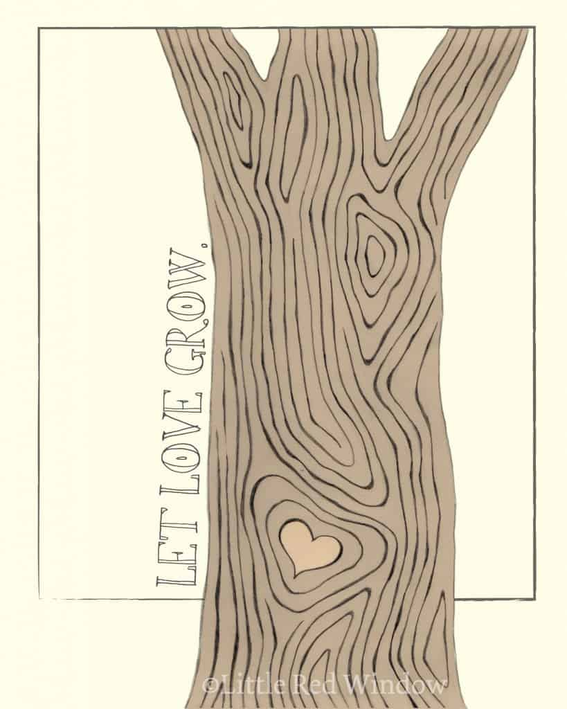 Tree Wood Grain Love Printable Print by Little Red Window