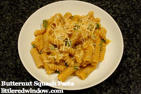 Butternut Squash Pasta Sauce with fresh basil  on Little Red Window