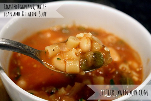 Roasted Eggplant, White Bean and Ditalini Soup by Little Red Window, a hearty and really delicious recipe, perfect for Fall!