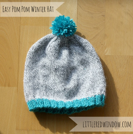 Easy Winter Pom Pom Hat Knitting Pattern - Little Red Window