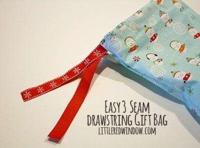 Easy 3 Seam Drawstring Gift Bag Tutorial via littleredwindow.com