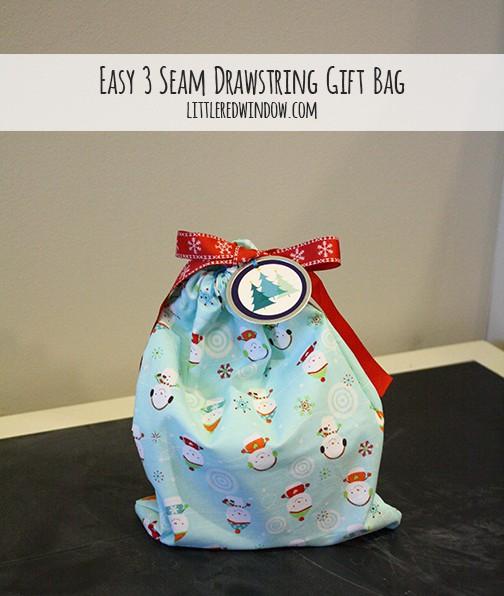 Easy 3 Seam Drawstring Gift Bag - Little Red Window