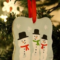 Snowman Handprint Christmas Ornament, cute and easy craft project to do with your kids this Holiday season! via littleredwindow.com