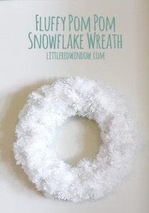 DIY Fluffy Snowflake Pom Pom Wreath | littleredwindow.com |Make a soft fluffy and easy snowflake wreath from pom poms!