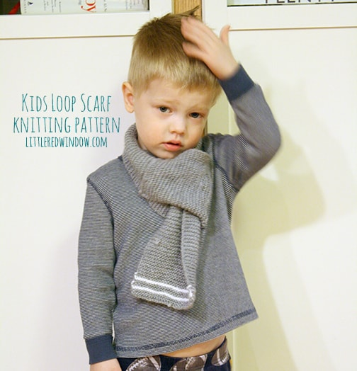 Knit Scarf Patterns For Kids : Kids Loop Scarf Knitting Pattern - Little Red WindowLittle Red Window