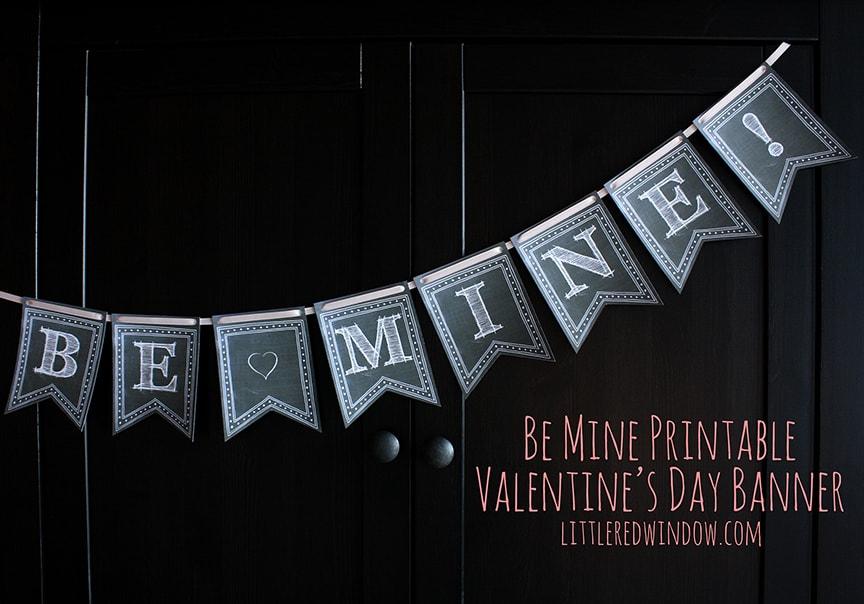 Printable Valentine's Day Banner   Little Red Window
