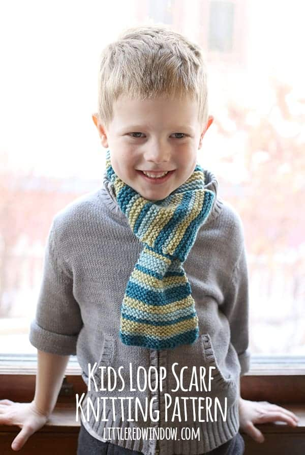 Kids Knitting Patterns Free : Kids Loop Scarf Knitting Pattern - Little Red Window