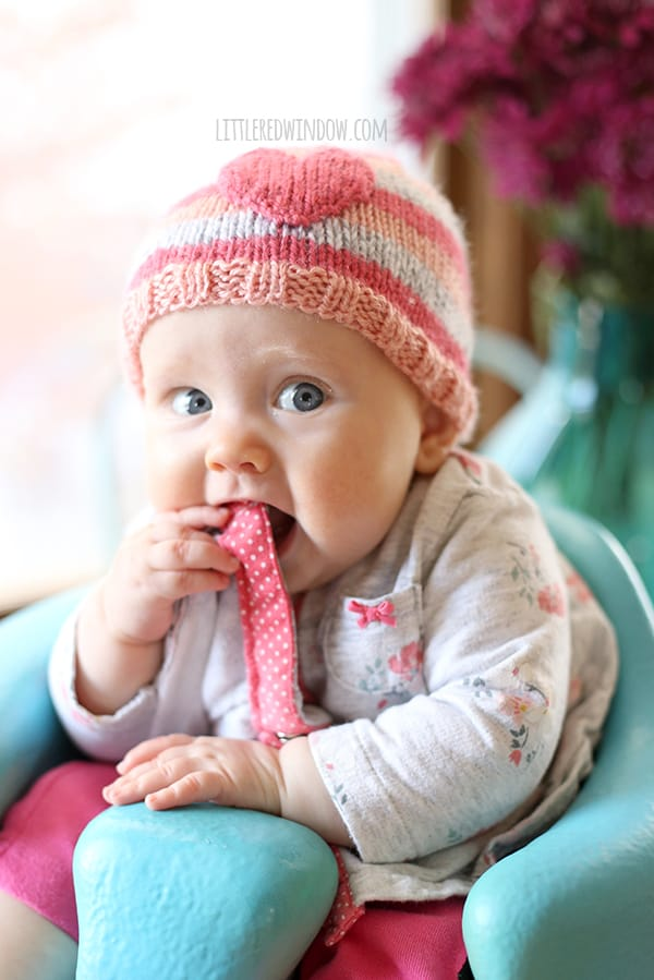 Be My Valentine Heart Hat Knitting Pattern | littleredwindow.com