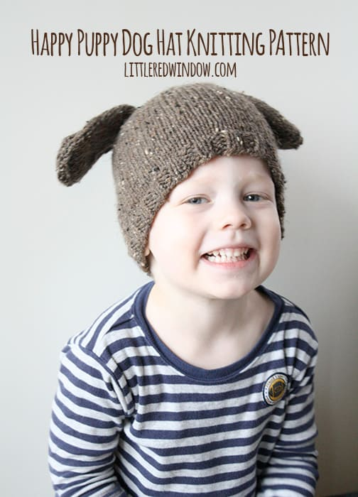 Happy Puppy Dog Hat Knitting Pattern by Little Red Window