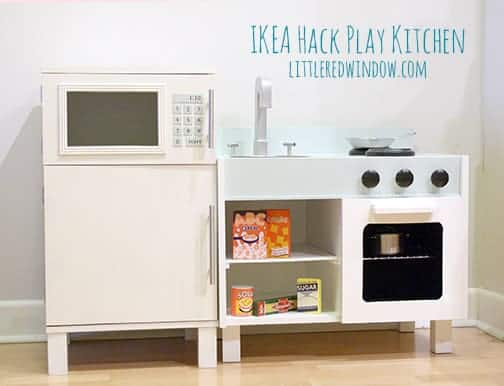 Ikea Hack Play Kitchen - Fridge and Microwave - Little Red Window
