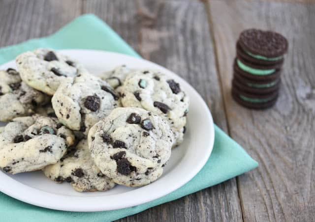Mint Cookies and Cream Cookies from Kirbie's Cravings