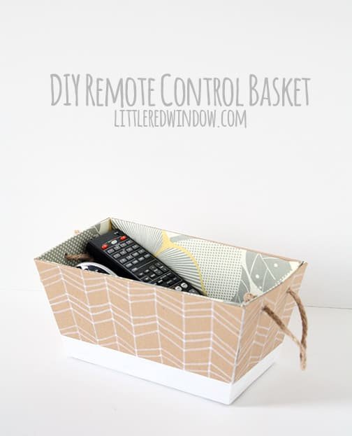 DIY Remote Control Basket  | littleredwindow.com |  Stop losing the remote, make your own cute fabric lined DIY Remote Control Caddy for your living room!