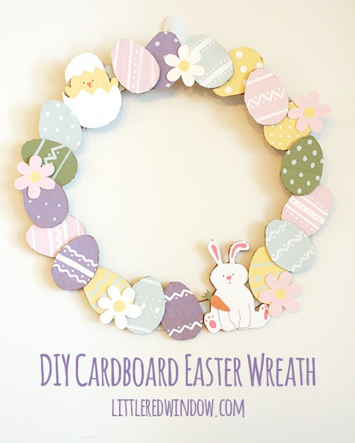 DIY Cardboard Easter Wreath by Little Red Window