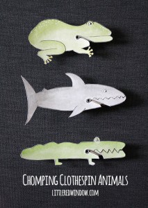 Chomping Clothespin Animals | littleredwindow.com | Make some adorable (and hungry) animals friends!