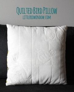 Quilted Bird Pillow | littleredwindow.com