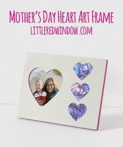 Mother's Day Kid's Heart Art Picture Frame Tutorial | littleredwindow.com | Turn a $1 frame into a special and meaningful gift for mom!