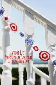 4th of July Paper Rosette Garland | littleredwindow.com