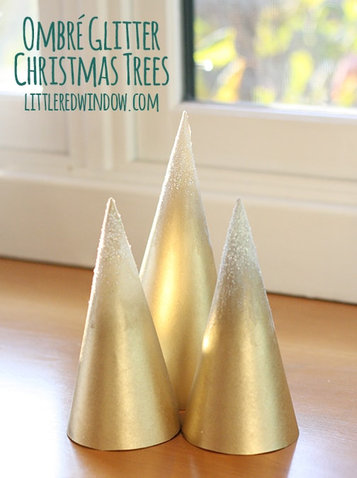 Ombre Glitter Christmas Trees | littleredwindow.com