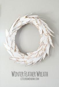 Wintry Paper Feather Wreath | littleredwindow.com