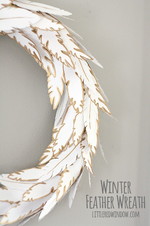 Winter Feather WreathLittle Red Window
