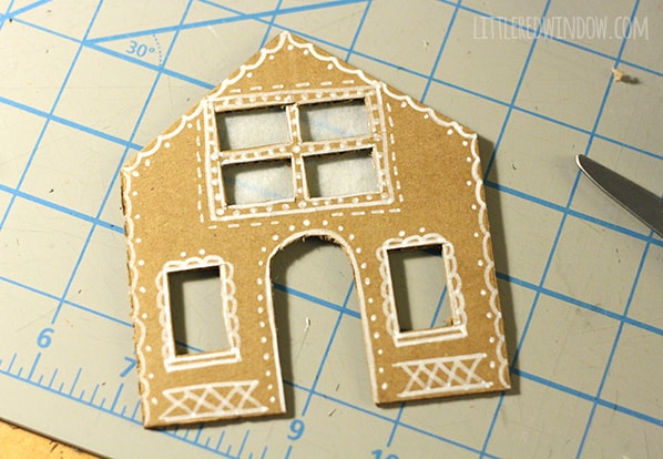 Tiny Cardboard Gingerbread Houses | littleredwindow.com | Make these adorable little Gingerbread Houses out of cardboard, they even light up!