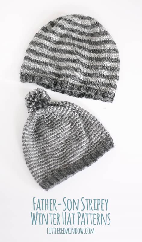 Father Son Striped Winter Hat Knitting Patterns | littleredwindow.com | Two adorable (and FREE) coordinating hat patterns for your favorite guys!