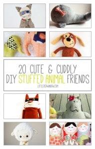 20 Cute & Cuddly DIY Stuffed Animal Friends | littleredwindow.com