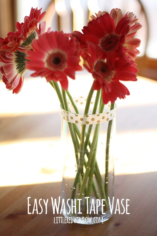 Easy Washi Tape Vases | littleredwindow.com | A simple way to customize a plain vase! Perfect for parties!