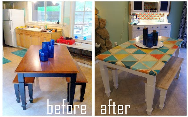 DIY Triange Pattern Kitchen Table Paint-016