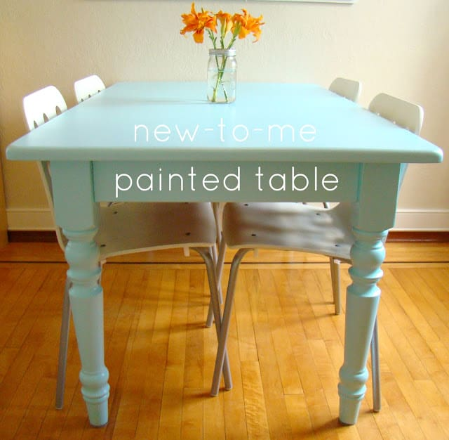 painted dining room table from family feedbag