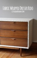 small fabric wrapped dresser