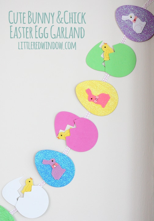 Cute Bunny & Chick Easter Egg Garland  |  littleredwindow.com | Make your own sweet Spring decorations!