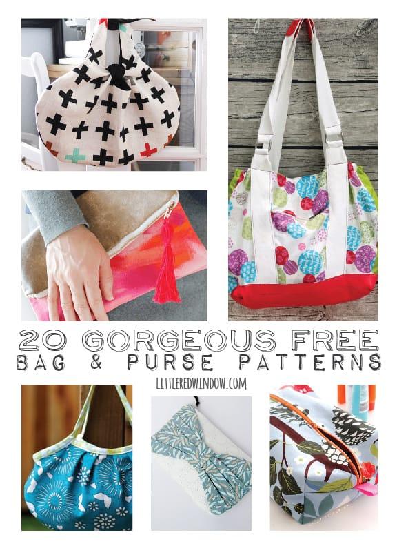 20+ Gorgeous FREE Bag & Purse Patterns | littleredwindow.com