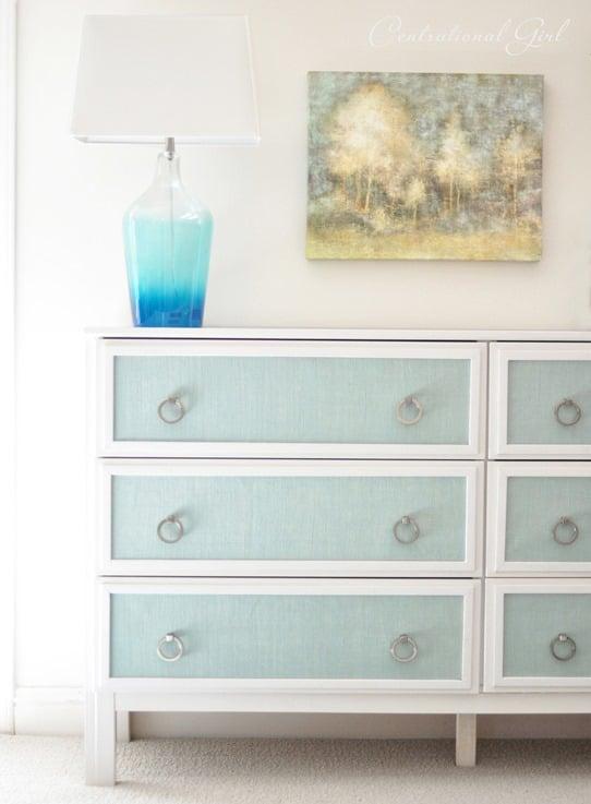 ikea-dresser-makeover-with-blue-burlap-panels