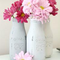 Chalk Painted Milk Bottles | littleredwindow.com | It's so easy to use chalk paint to transform these cute little 89 cent milk bottles!