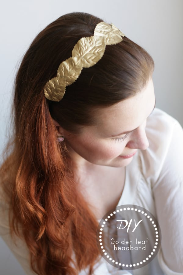diy golden leaf headband