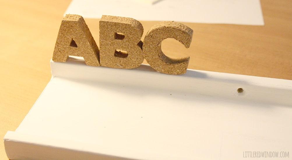 DIY Cork Alphabet Shelf | littleredwindow.com | Perfect for a nursery or kid's room!