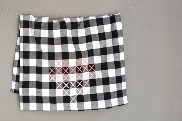 cross stitch heart towel 5